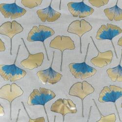 Tissu Biloba Foil Toile Bleu et or