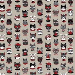Tissu Funny Cat Toile Noir et rouge