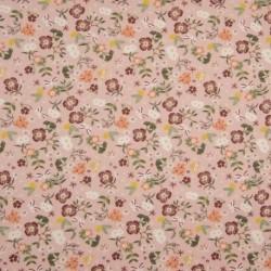 Tissu Popeline Imprimé Fleur Fond Vieux Rose