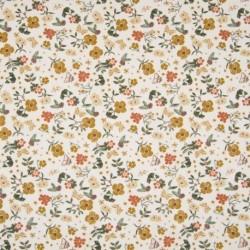 Tissu Popeline Imprimé Fleur Fond Ecru