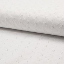 Tissu Broderie Satin Fleur Blanc Cassé
