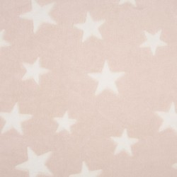 Tissu Polaire Etoile Rose blanc