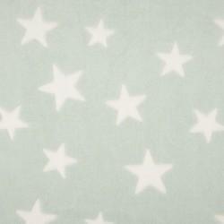 Tissu Polaire Etoile Menthe blanc