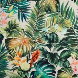 Tissu Jersey Digital Tropical Fond Gris
