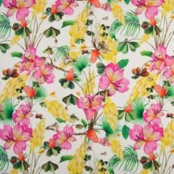 Tissu Jersey Digital Fleur Fond Ecru