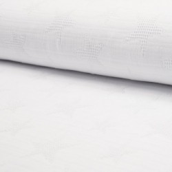 Tissu Jacquard Double Gaze Etoile Blanc