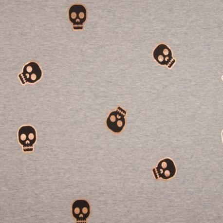 Tissu Jersey Foil Imprimé Tête de Mort