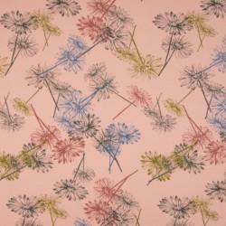 Tissu Jersey Bio Fleur Rose