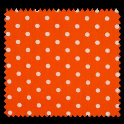 Tissu Pois Orange Blanc