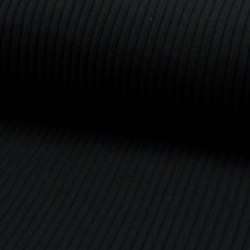 Tissu Maille Bord Cote Noir