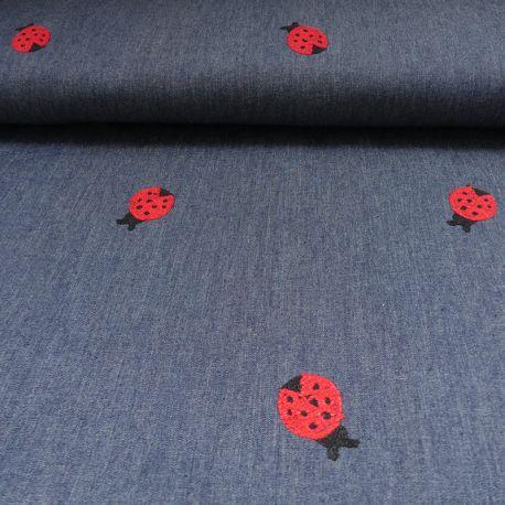 Tissu Jeans Brodé Coccinelle