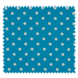 Tissu Pois Aqua Blanc