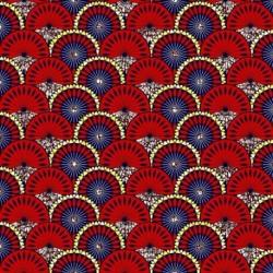 Tissu Super Wax Rosace Rouge