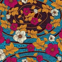 Tissu Super Wax Fleur Fond Bleu