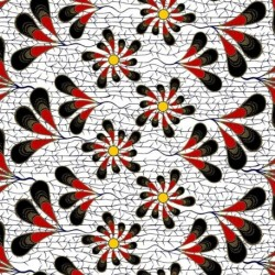Tissu Super Wax Fleur Fond Blanc