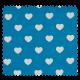 Tissu Coeur Aqua Blanc