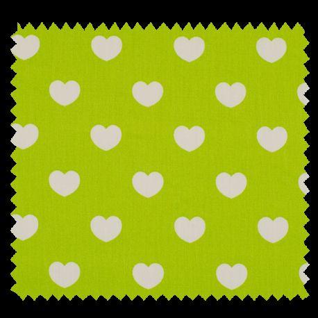 Tissu Coeur Pistache Blanc
