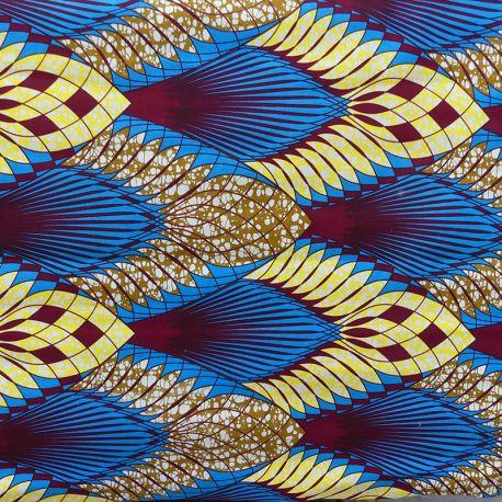 Tissu Super Wax Bleu jaune