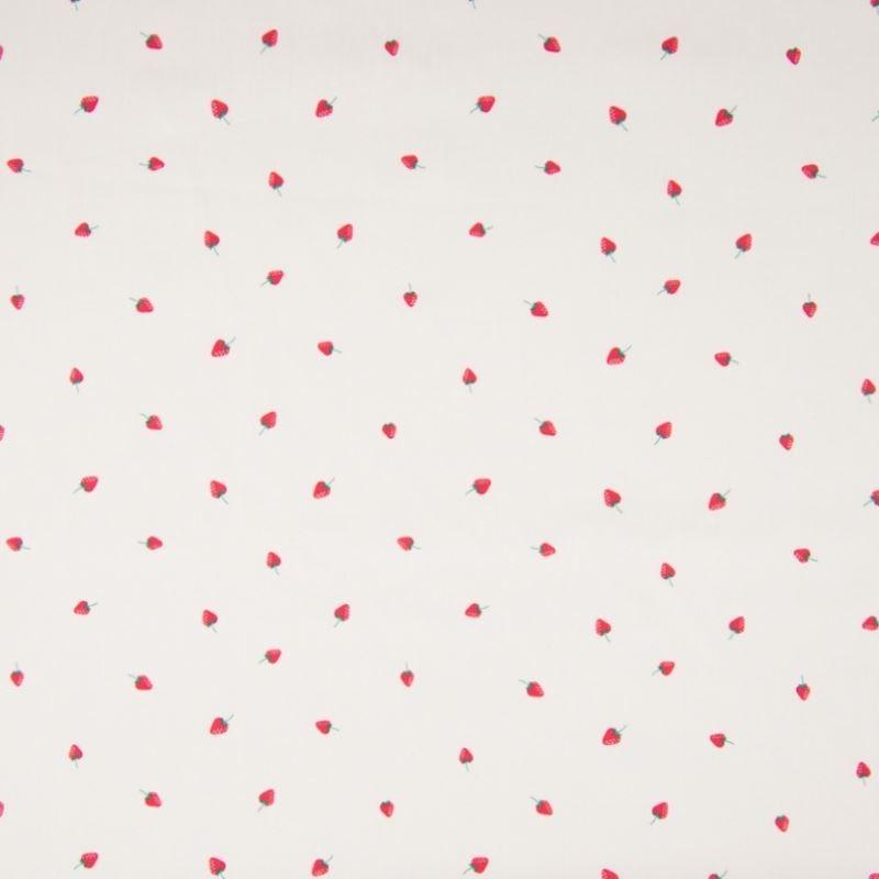 Tissu Popeline Imprime Mini Fraises