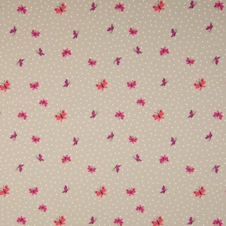 Tissu Jersey Imprimé Papillon Sable
