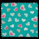 Tissu Coeur Multi Turquoise