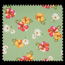 Tissu Popeline Fleur Vert