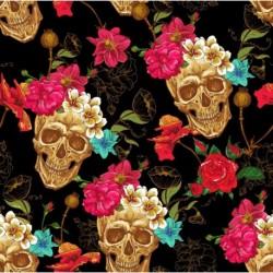 Tissu Popeline Skulls & Roses Imprimé Tête de Mort Noir