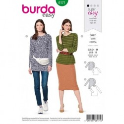 Patron Burda 6171 Tee-shirt Parement de 34 à 44