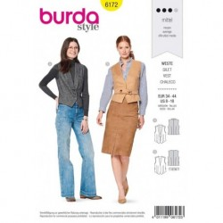 Patron Burda 6172 Gilet Encolure V 34/44