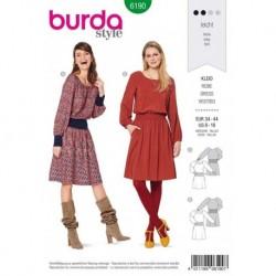 Patron Burda 6190 Robe Ceinture de 34 à 44