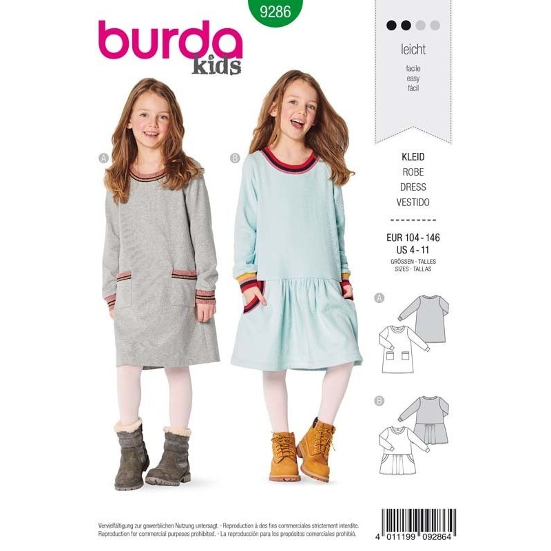 Patron Burda 9286 Kids Robe 104/146