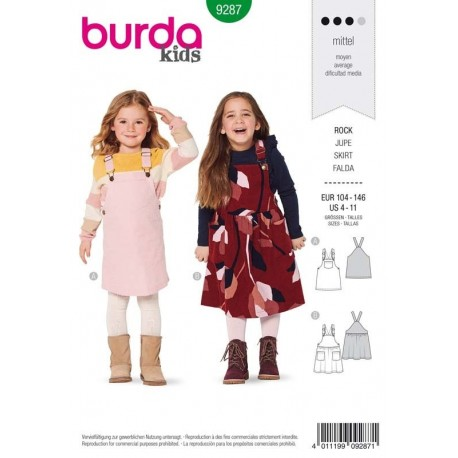 Patron Burda 9287 Kids Robe Salopette 104/146