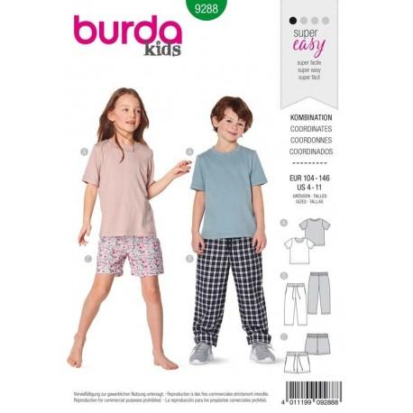 Patron Burda 9288 Kids T-shirt/pantalon/short 104/146
