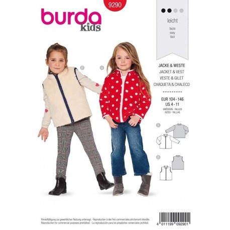 Patron Burda 9290 Kids Veste/gilet 104/146