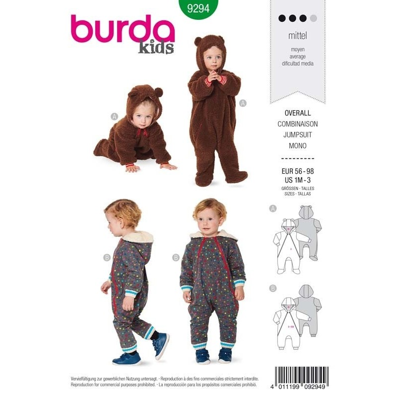 Patron Burda 9294 Kids Combinaison Zippée 56/98