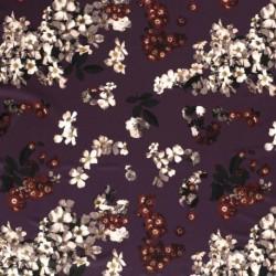 Tissu Crêpe Imprimé Fleur Bordeaux