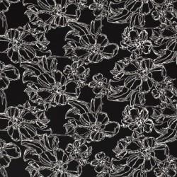 Tissu Jersey Imprimé Fleur Noir