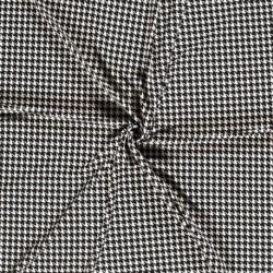Tissu Jersey Imprime Pied de Poule Noir