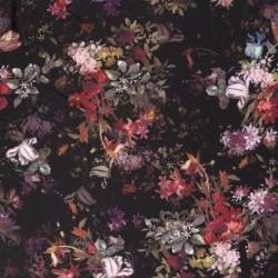 Tissu Tombé Soie Imprimé Fleur Noir