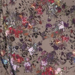 Tissu Tombe Soie Imprimé Fleur Taupe