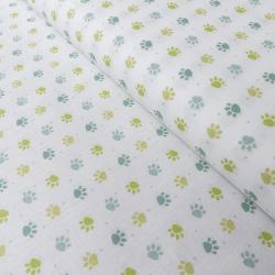 Tissu Patoune Imprimé Jade