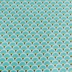 Tissu Eventails Dorés Cretonne Turquoise