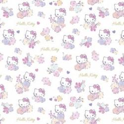 Tissu Popeline Hello Kitty Imprimé Blanc