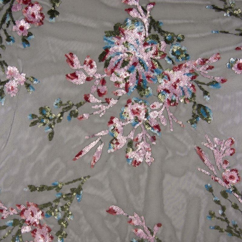 Tissu Broderie Sequin sur Tulle Lilas Rose