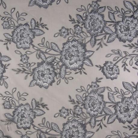 Tissu Fleurs Brodées Sur Tulle Gris