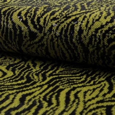 Tissu Sequin Animal Noir jaune