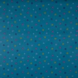 Tissu Coton Imprimé Pois Pétrole