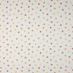 Tissu Coton Imprimé Pois Ecru