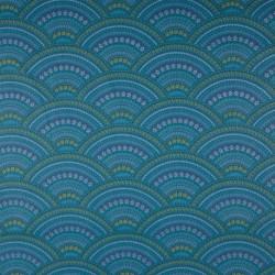 Tissu Coton Imprimé Ornement Pétrole