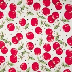 Tissu Coton Imprimé Cerises Rouge Blanc